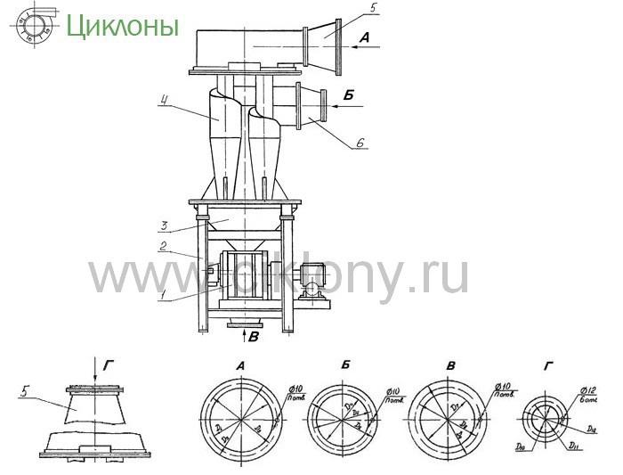 Циклон У21-ББЦ-450-00 чертёж